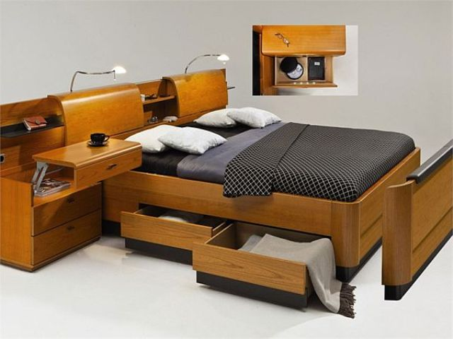 lit avec rangement en bois. Black Bedroom Furniture Sets. Home Design Ideas